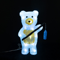 Acrylic bear with fishing rod
