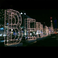 Merry Christmas Letter LED 2D Motif Light Wire Frame for Public Decoration Christmas Decoration