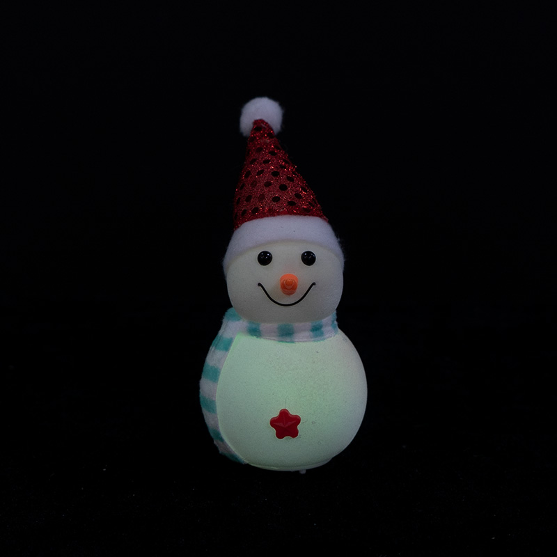 White flannel snowman with red hat