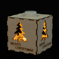 Wood box with Christmas tree pattern