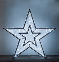 3D Christmas Decoration 100% Glue Bullet Led Aluminum Frame Bright Star Motif Light