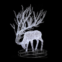 Garden plaza outdoor decoration aluminum frame cold white glowing reindeer led motif light with a round base