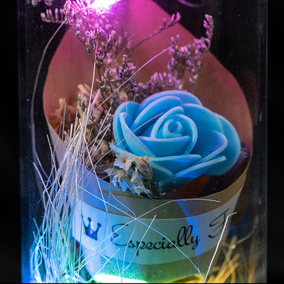 EVERMORE Blue Rose Dried flowers With Natural Color Thread and Letter 4L Multicolor LED Bare Wire Glass Cover Light