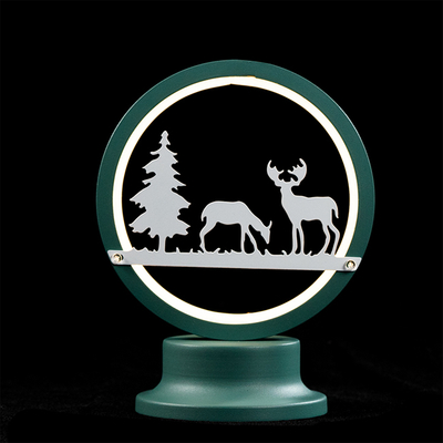 EVERMORE Light Green Iron Frame Deer and Tree Pattern Table Light