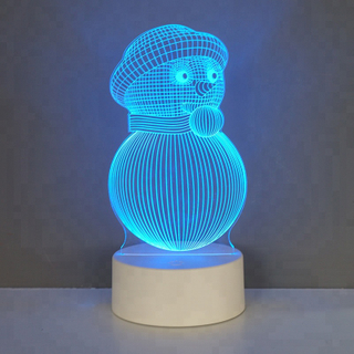 Engraved Acrylic Custom Snowman Illusion Christmas 3D LED Night Light